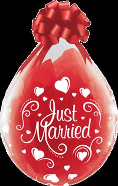 Just married Herzen Verpackungsballon, transparent, Qualatex, ca. 45 cm