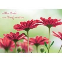 Grußkarte: Alles Liebe zur Konfirmation - rote Blumen