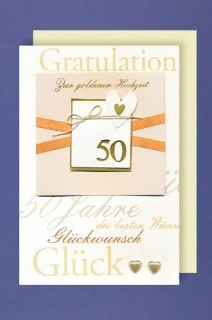 Grußkarte: Gratulation zur Goldenen Hochzeit - mit Applikationen