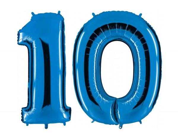Folienballon Set Zahl 10, ca. 100 cm, blau