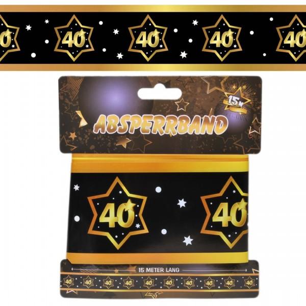 Absperrband 40, schwarz/gold, 15 Meter