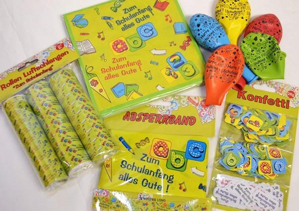 Dekoset Einschulung Schulanfang: 1 Absperrband, 5 Ballons Schulkind, 3er Konfetti, 3 Luftschlangen,