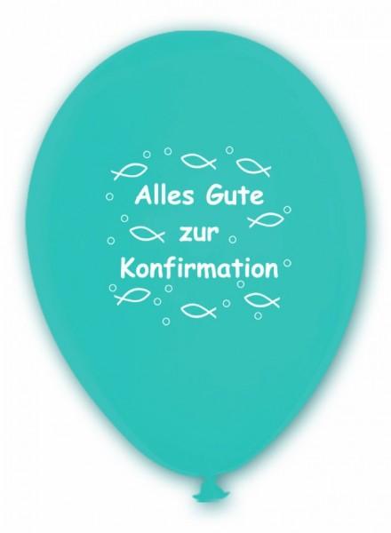 10 Ballons Alles Gute zur Konfirmation, türkis, ca. 30 cm