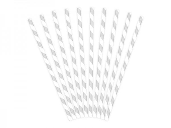 Trinkhalme / Strohhalme silber/weiß, ca. 19,5 cm, 10 St.