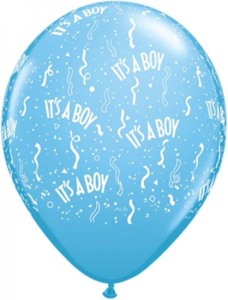 """5 Ballons aus Qualatex in blau mit """"It's a boy"""" Schriftzug, ca. 30 cm Durchmesser"""