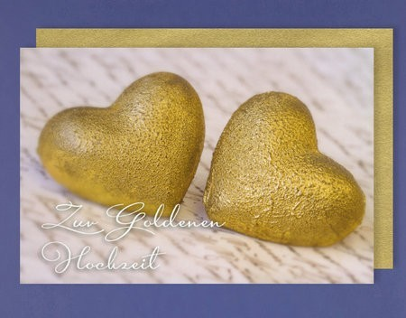 Grußkarte: Zur goldenen Hochzeit - 2 goldene Herzen