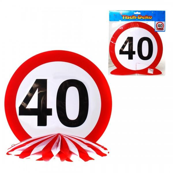 Tischdeko 40 Verkehrsschild, Schild auf Wabenfächer, ca. 25 cm