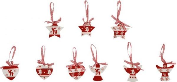 Dekohänger Weihnachten Keramik, 1 Stück, sortierte Motive: Stern, Herz, Engel