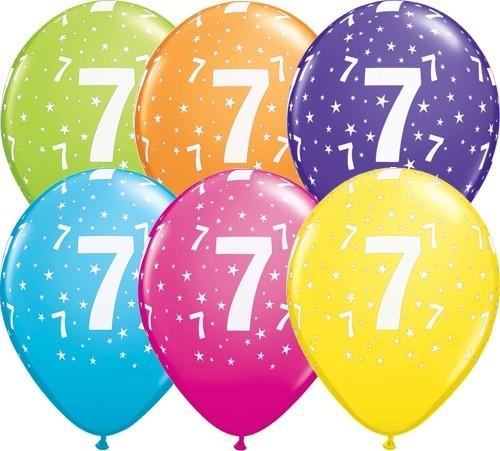 Zahlenballons 7, Qualatex, ca. 30 cm, 6 St.