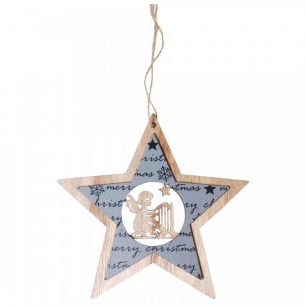 Hängedeko Stern mit Engel, Merry Christmas, Holz, ca. 16,5 x 17 cm
