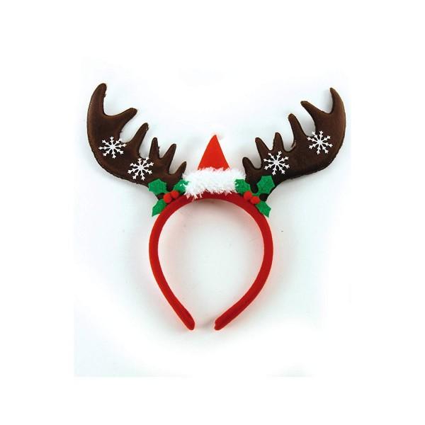 Haarreifen Rentiergeweih mit Weihnachtsmütze, Einheitsgröße