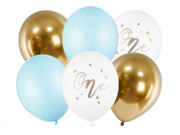 Zahlenballons One, hellblau weiß gold, ca. 30 cm, 6 St.