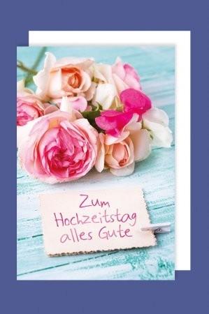 Grußkarte: Zum Hochzeitstag alles Gute - rosa Rosen