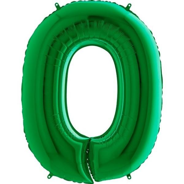 Folienballon Zahl 0, ca. 100 cm, grün