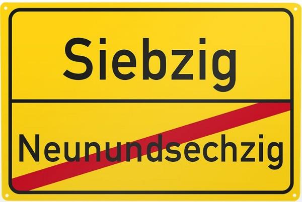 Blechschild Neunundsechzig / Siebzig, ca. 30 x 20 cm