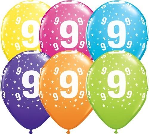 Zahlenballons 9, Qualatex, ca. 30 cm, 6 St.