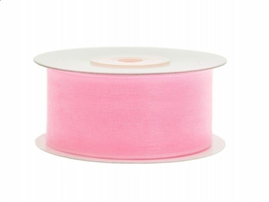 Organzaband rosa, 3,8 cm, 25 Meter-Rolle