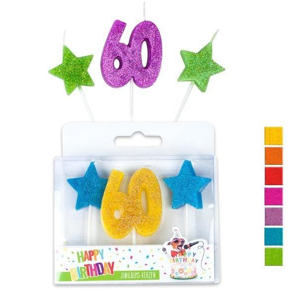 Kerzen 60 Geburtstag bunt, ca. 7 cm, 3er Set