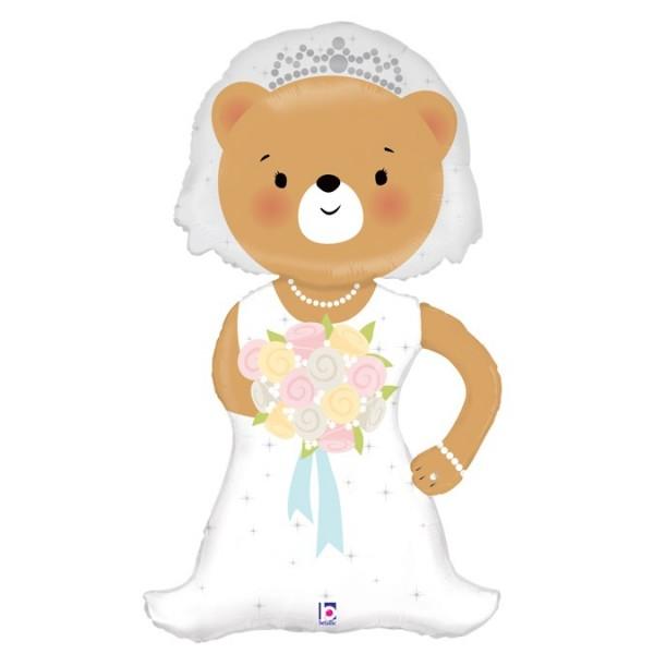 Folienshape Braut Teddybär, ca. 109 cm