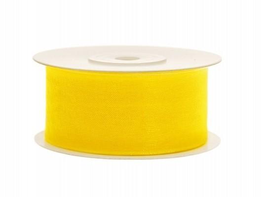 Organzaband gelb, 3,8 cm, 25 Meter-Rolle