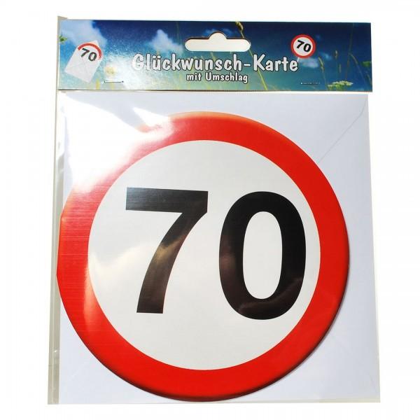 Grußkarte: 70 Verkehrsschild, rund mit Umschlag
