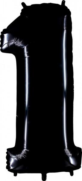 Folienballon Zahl 1, ca. 100 cm, schwarz