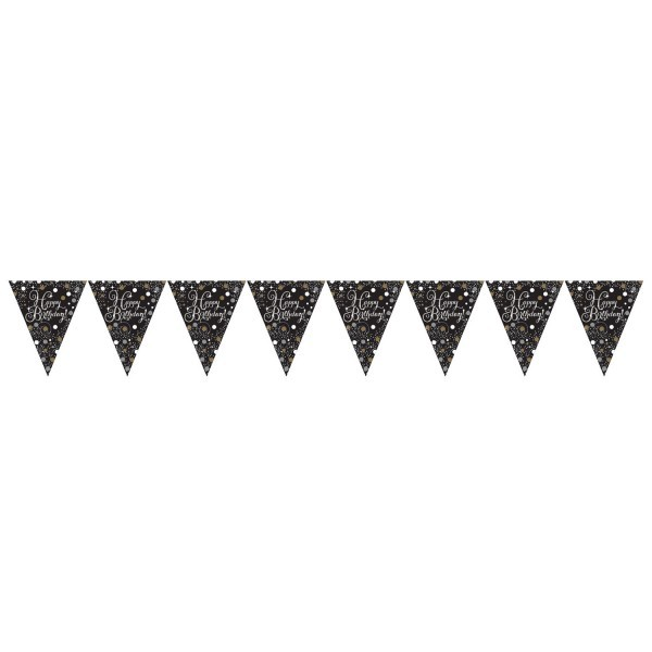 Wimpelkette Happy Birthday, schwarz/weiß/silber, ca. 4 Meter
