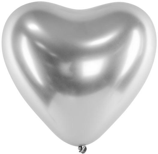 Herzballons, 30 cm, chrome glossy silber