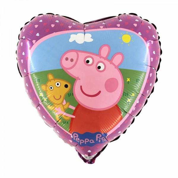 Folienherz Peppa Pig, ca. 45 cm
