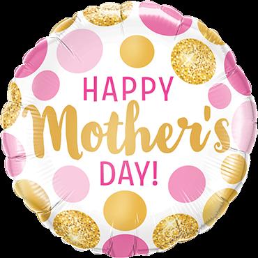 Ballongruß: Happy Mother`s day, Polka Dots, ca. 45 cm