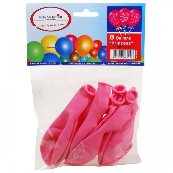 8 Ballons Princess Prinzessin, ca. 30 cm