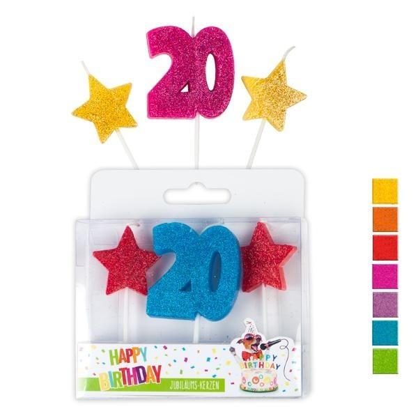 Kerzen 20 Geburtstag bunt, ca. 7 cm, 3er Set