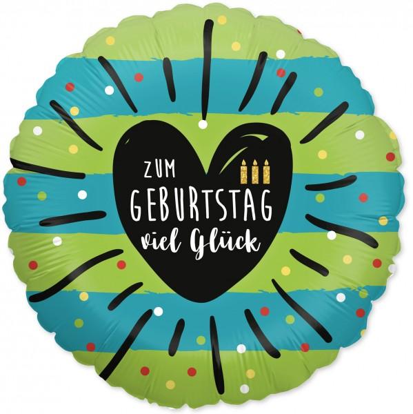 Ballongruß: Zum Geburtstag viel Glück, grün türkis, ca. 45 cm