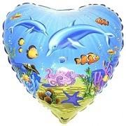 Ballongruß: Herz Unterwasserwelt, ca. 45 cm