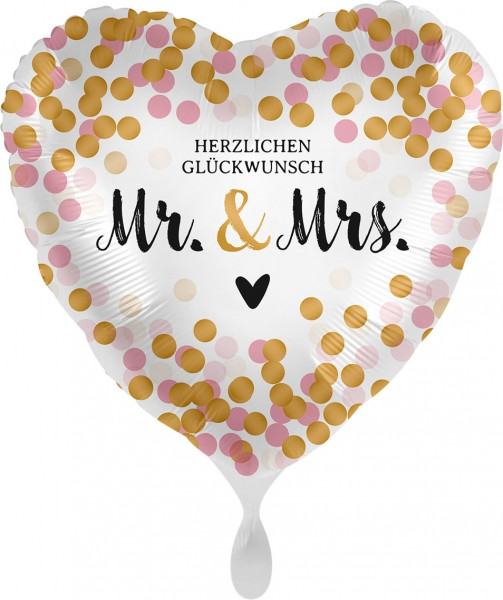 Folienherz Herzlichen Glückwunsch Mr & Mrs, weiß gold rosa, ca. 45 cm