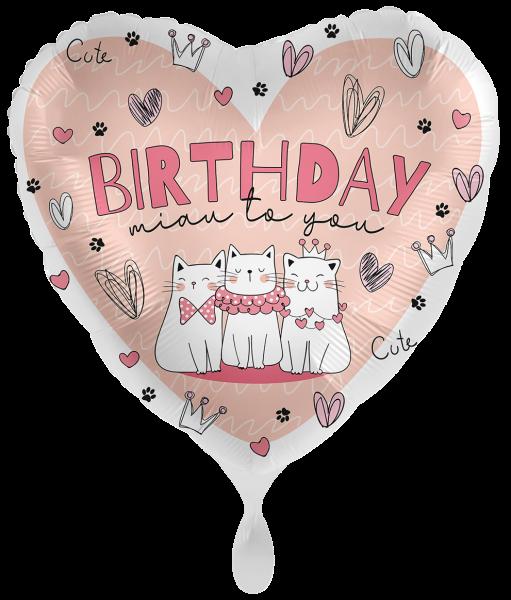 Folienherz Birthday miau to you, Katzen, ca. 45 cm