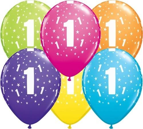 Zahlenballons 1, Qualatex, ca. 30 cm, 6 St.