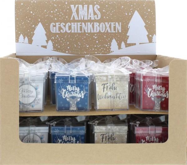 Geschenkbox Weihnachnachten Acryl, ca. 8x5x5 cm, sortiert, 1 St.