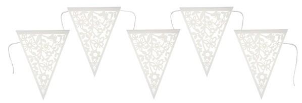 Wimpelkette Blumenmuster ausgestanzt weiß/natur, ca. 3 M.