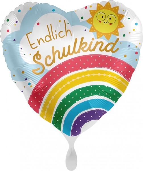 Folienherz Endlich Schulkind, Regenbogen & Sonne, ca. 45 cm