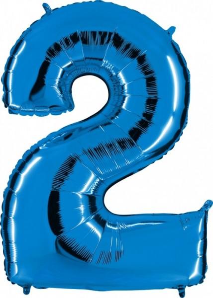 Folienballon Zahl 2, ca. 100 cm, blau