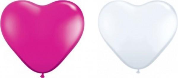 Herzballons, ca. 30 cm, pink & weiß