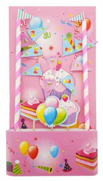 Cake Topper Tortendeko rosa bunt, 5 Teile