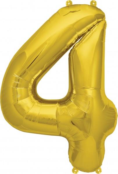 Folienballon Zahl 4, ca. 35 cm, GOLD, für Luftbefüllung