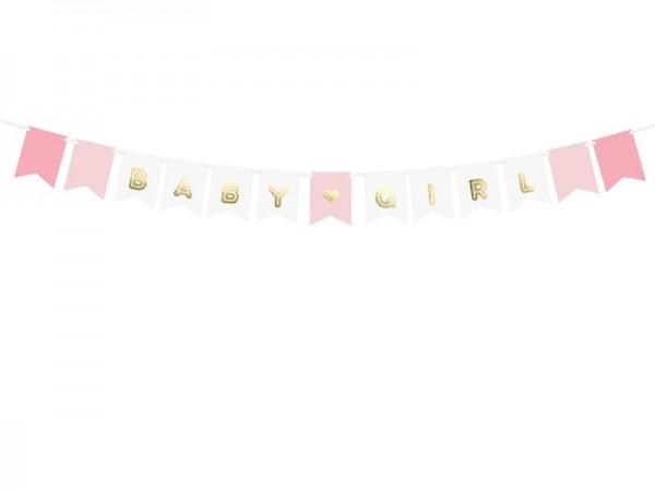 Girlande Baby Girl rosa/weiß/gold, ca. 1,6 Meter
