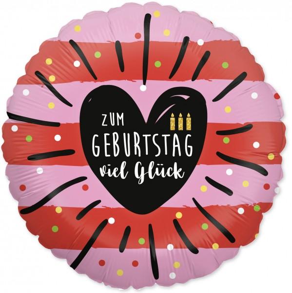 Folienballon Zum Geburtstag viel Glück, rot rosa, ca. 45 cm