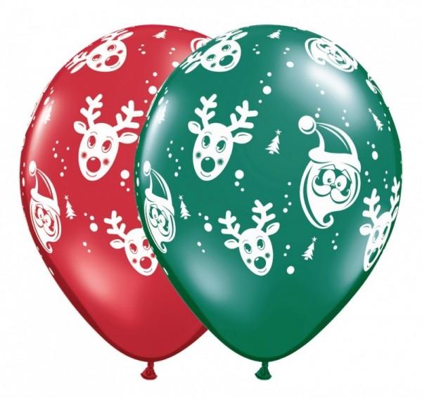 5 Ballons Weihnachtsmann/Rentier rot/grün, Qualatex, ca. 30 cm