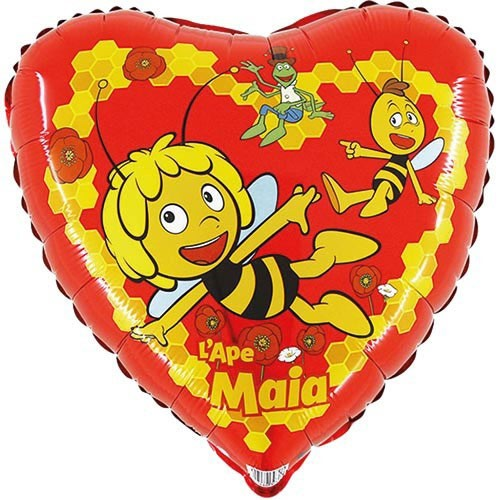 Ballongruß: Herz Biene Maya, ca. 45 cm