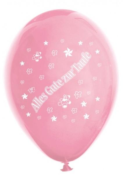 10 Ballons Alles Gute zur Taufe, rosa/fuchsia, ca. 30 cm Durchmesser