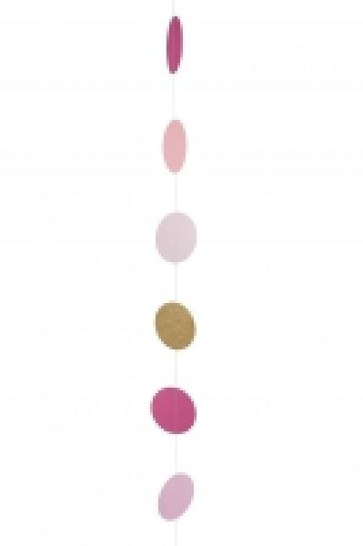 Hängedeko Girlande Punkte rose rosa pink gold, ca. 1,95 M